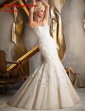 BacklakeGirls Elegant Mermaid Bride Gown 2017 Crystal Custom Made Applique Beaded Lace Wedding Dress Vestido De Noiva
