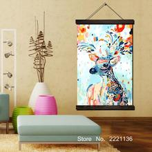 Abstract Deer Art Framed Scroll Painting HD Wall Hanging Canvas Printed Pictures for Living Room Decoration