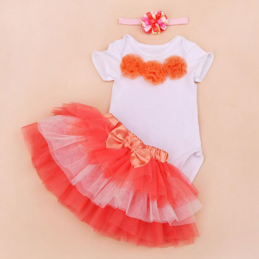 3PCs per Set Baby Girls Romper Lace Flowers Orange Six-layers Jumpersuit Headband Shoes for 0-24Months