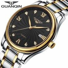 Luxury Brand GUANQIN Мужчины Кварцевые Часы Часы Полный Нержавеющей Водонепроницаемый Повседневная Наручные Часы Для Человека Спортивные Relojes Открытый Саат