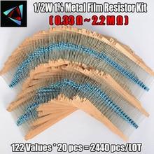 2440Pcs 1/2W 1% 122 ערכי 0.33 2.2M אוהם כל ערך מתכת סרט הנגד מבחר ערכת סט