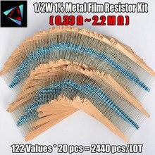 2440Pcs 1/2W 1% 122 valori di 0.33 2.2M ohm Ogni Valore del Metallo Film Resistor Assortimento kit Set