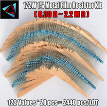 2440Pcs 1/2W 1% 122 values 0.33 2.2M ohm Each Value Metal Film Resistor Assortment Kit Set