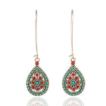 Купить с кэшбэком Boho Vintage India Ethnic Water Drip Beads Dangle Drop Earrings for Women Colorful Female 2019 Wedding Party Jewelry Accessories