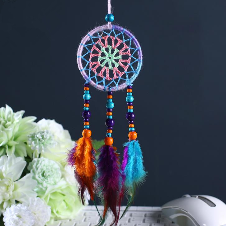 Dreamcatcher Gift checking Dream Catcher Net With natural stone Feathers Wall Hanging Decoration Ornament