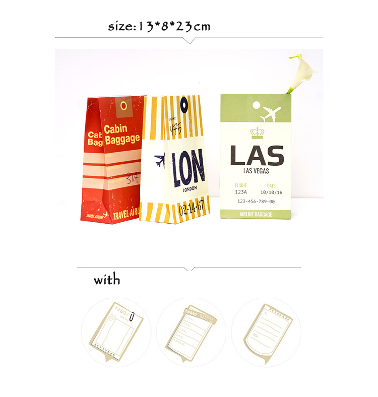 9 sets paper bag luggage tag Vintage Retro style as gift packaging birthday party candy holding with sticker for DIY send love