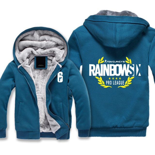 High-quality Winter Rainbow Six Siege Hoodie Men's Winter Casual Super Warm Thicken Fleece Zip Up Sweatshirt Coat plus size 5XL 4