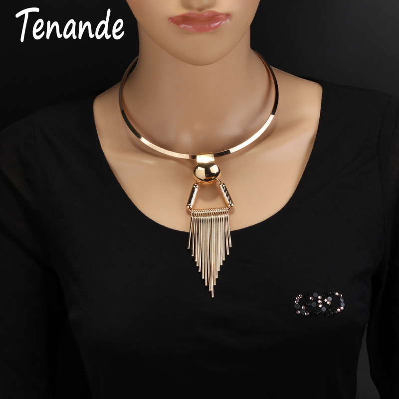 Tenande Punk Big Statement Stripe Triangle Tassel Necklace & Pendants for Women Simple Style Night Club Jewelry Bijuterias Colar