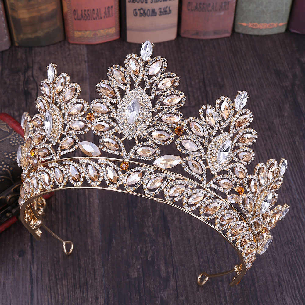 New Glitter Baroque Diamante Large Crystal Floral Crown Exquisite Charming Tiaras Beauty pageant Bride Wedding Hair Accessories