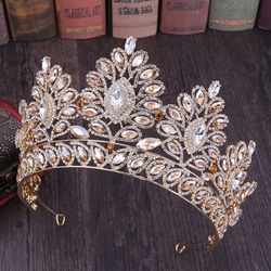 FORSEVEN Vintage Baroque Large Crystal Floral Crown Exquisite Tiaras Bride Noiva Wedding pageant Hair Jewelry Accessories