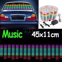 45*11cm Rhythm Music Activated Equalizer Car Decration Sticker Glow Flash Panel LED Car Music Light Car Stiker Light Lamp