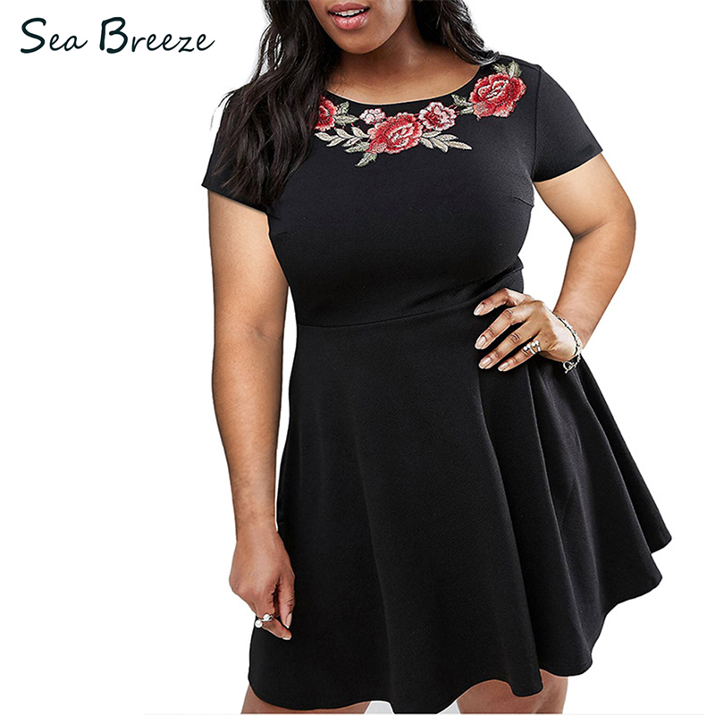 Sea Breeze Summer 2017 New Women Plus Size O Neck