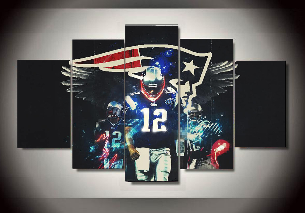 Unframed 5 piece tom brady painting wall art bedroom decor - New england patriots bedroom accessories ...