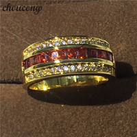 3 Colors Hot sale Jewelry Male ring 5A Zircon Cz Yellow gold filled Party Wedding Band Ring for Men Women Gift Size 7 13