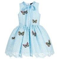 New Arrival 2017 Princess Summer Girl Dress Embroidered Butterfly Blue Sleeveless Teen Lace Girl Graduation Dress
