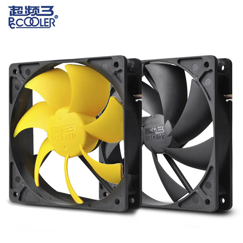 Pccooler 12cm computer case cooling fan quiet cpu and power cooler fan cooling radiator fan 120mm computer pc Chassis fan silent sleeve bearing 120mm case fan heatsink cooler cooling for pc computer radiators 12cm fan power by 12vdc 3pin ide molex 4pin