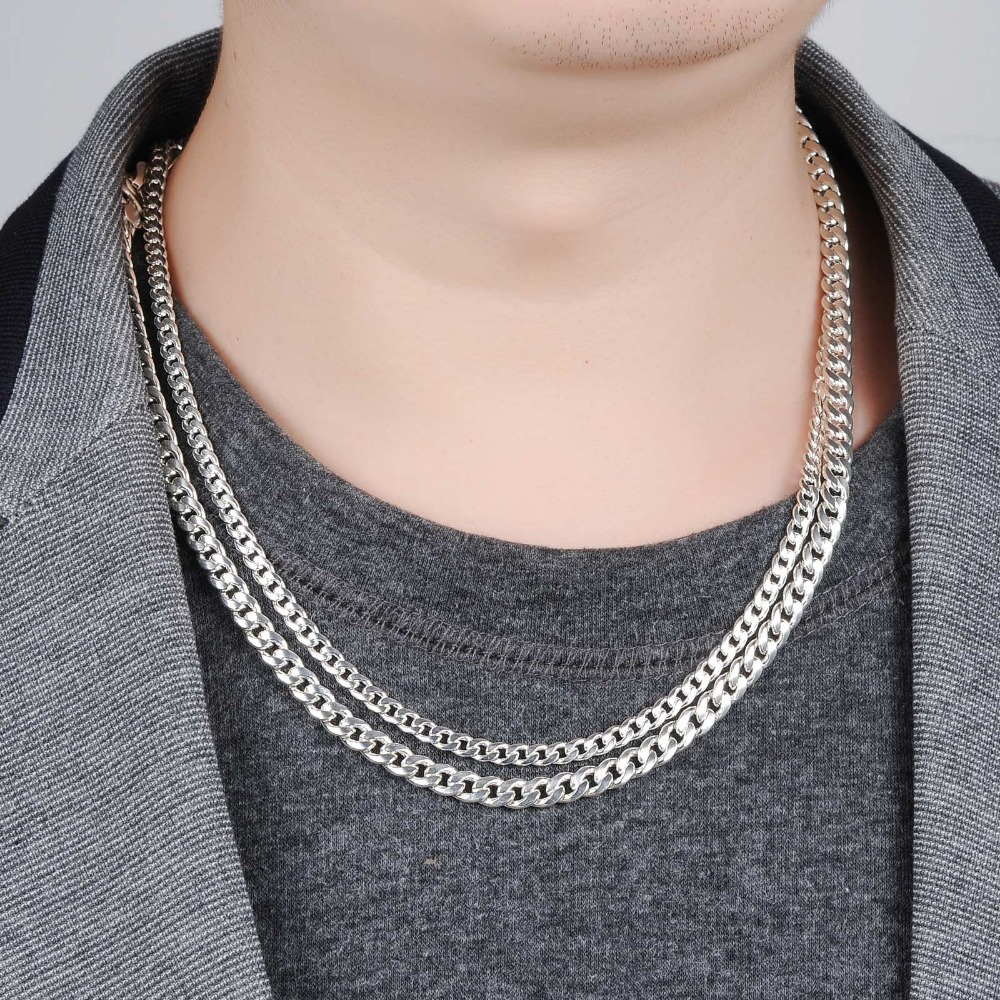 Classical Sterling Silver Necklace For Man Simple Design Link ...