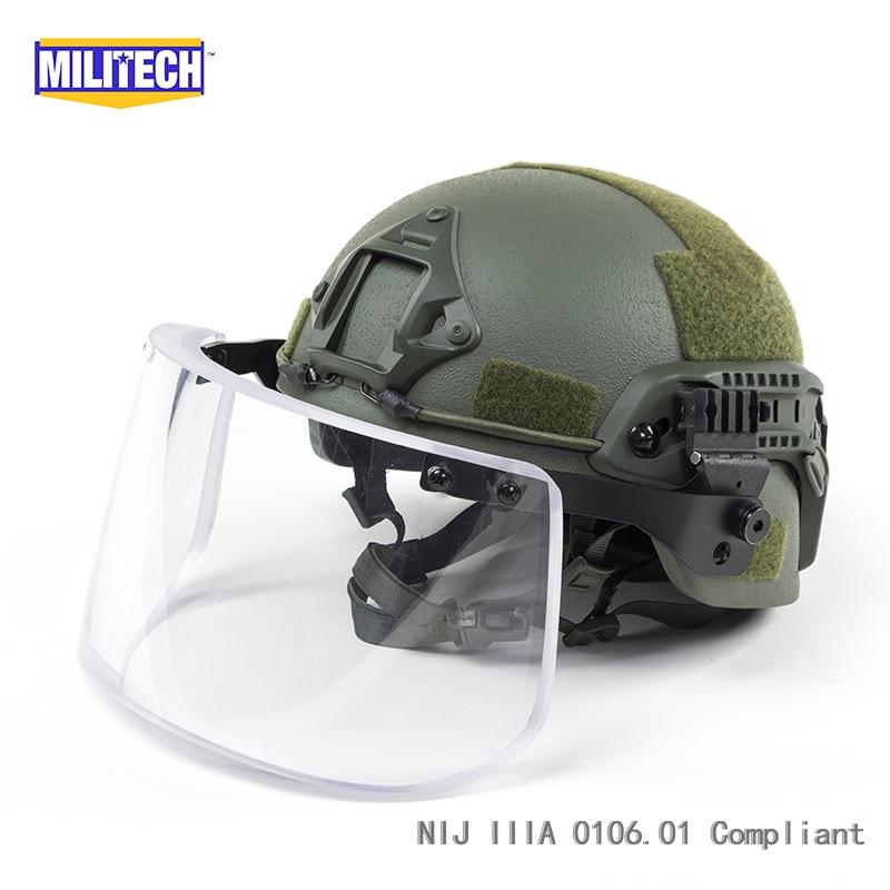 MILITECH OD ACH ARC OCC Dial Liner NIJ level IIIA 3A Aramid Bulletproof Ballistic Helmet With Tactical Ballistic Visor Set Deal