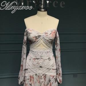 Image 2 - Mryarce Morden Bride Floral Flowy Chiffon Boho Chic Wedding Dress Off The Shoulder Open Legs  Bridal Gowns