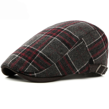 HT1986 New Autumn Winter Caps for Men Women Beret Cap Vintage Retro Plaid Ivy Newsboy Flat Adjustable Wool Berets