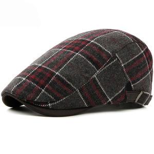 HT1986 New Autumn Winter Caps for Men Women Beret Cap Vintage Retro Plaid  Ivy Newsboy Flat Cap Adjustable Winter Wool Berets Men 3c2cd0642f95
