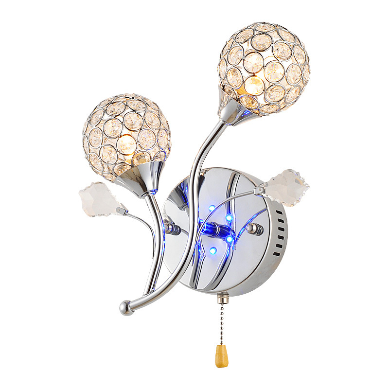 Crystal Torch Bedroom Wall Lamp Bathroom Mirror Front Wall: Modern Crystal 2 Heads LED Bedroom Wall Lamp Switch