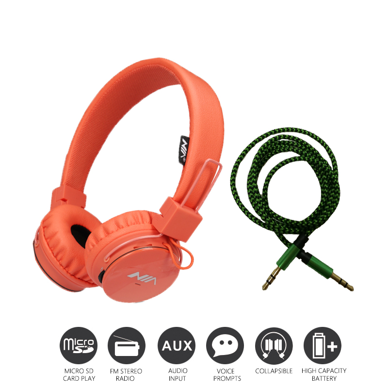 Economic Set: Original NIA 1682S + AUX Cable a Set Multifunctional Headphone mp3 player with FM SD Card slot economic set original nia 8809s 8 gb micro sd card a set wireless headphone sport for tv with fm