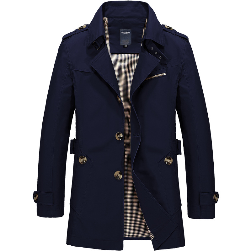 Brand Men's Trench Coat 4XL 5XL Spring High Quality Male Wind Breaker Cotton Casual Trench Men Slim Fat Outwear Clothing AF1306