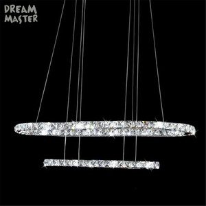 Image 5 - Lámpara Led de cristal de 38W ovalado, moderna, circular, iluminación de araña montada en el techo, para sala de estar, comedor, cocina