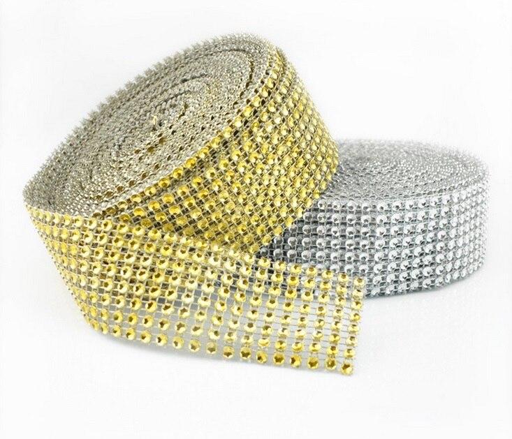 1,5 «x10 двор цвета: золотистый, серебристый бриллиант сетки вечерние украшения отделка Обёрточная Бумага Ролл Искра свадебные туфли со стразами деко Кристалл Bling Торт лента