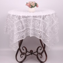 Handmade Vintage Beige White Crochet Tablecloth Rectangular Saure / Christmas Decorative Wedding Crocheted Table Cover Free Ship