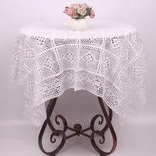 Mantel CURCYA hecho a mano Vintage Beige blanco Crochet Rectangular cuadrado Navidad decorativo boda ganchillo cubierta de mesa