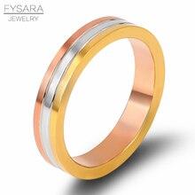 FYSARA обручальное трехслойное розовое Золотое серебряное кольцо для женщин парное кольцо любовь кольцо из нержавеющей стали подарок любовника