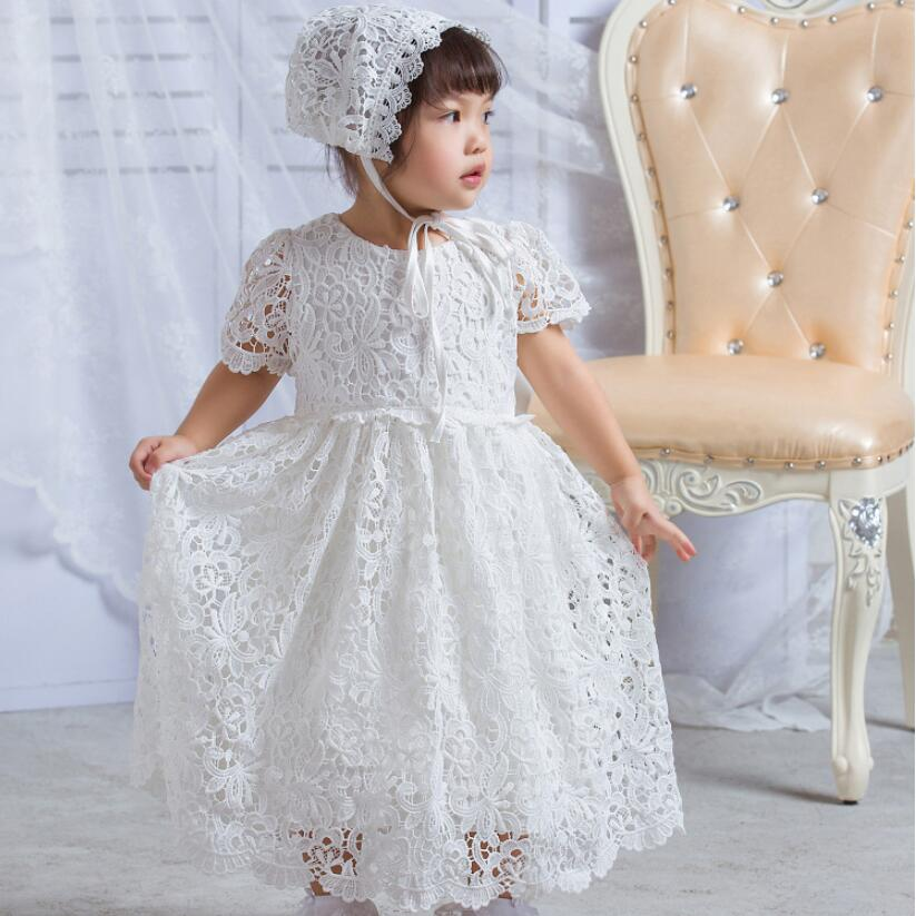c10962597f1 2PCs per Set Baby Girl Baptism Dress Ivory Infant Girl Christening Long Lace  Full Gown Flower Hat 0 24Months-in Dresses from Mother   Kids on  Aliexpress.com ...
