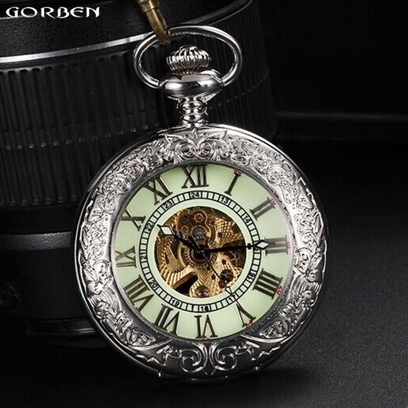 Luxury Silver Men Pocket Watch Luminous Dial Automatic Mechanical Pocket Watches Fob Chain Necklace Clock Best Gifts With Box garden garden классические шторы леденец цвет темно розовый