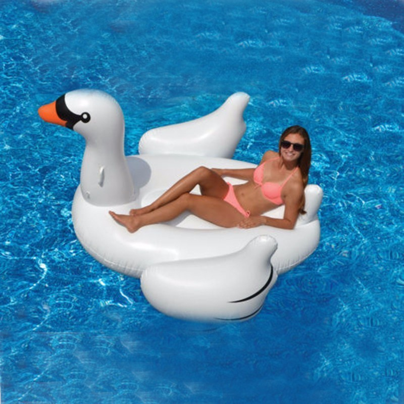 60 inch 150cm White New Summer Lake Swimming Water Lounge Pool Kid Giant Rideable Swan Inflatable Float Toy High Quality environmentally friendly pvc inflatable shell water floating row of a variety of swimming pearl shell swimming ring