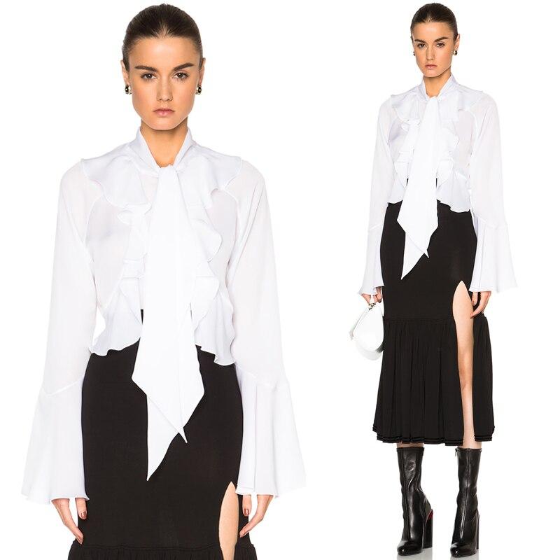 2017 European Fashion Women Tops Black White Chiffon Blouse And Shirt Long Sleeve With Scarf Office Ladies Elegant Shirts 1632
