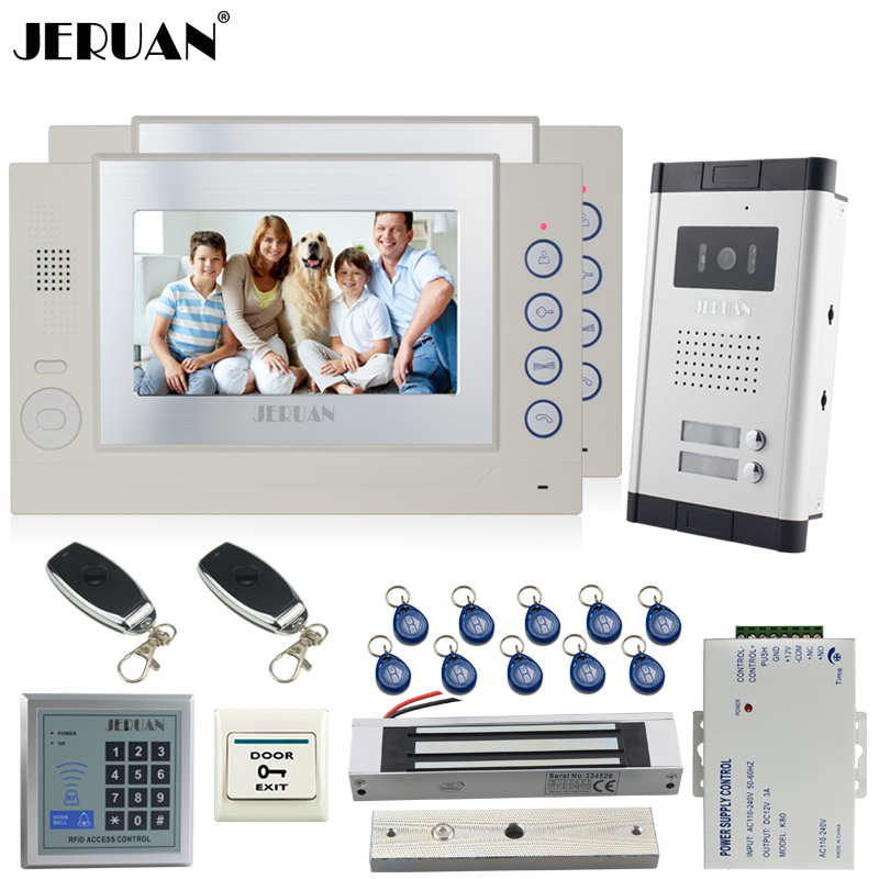 JERUAN Apartment 7`` Video Door Phone Record Intercom System kit 2 Monitor HD Camera RFID controller For 2 Household 8GB SD CARD jeruan new apartment 7 inch touch key video intercom door phone system 2 white monitor 1 hd ir camera for 2 household