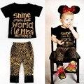 Розничная Новорожденных Девочек Одежда Черная футболка + Leopard Брюки Набор Девушки Золото Блесток Хлопок Одежда Детская Одежда 80966