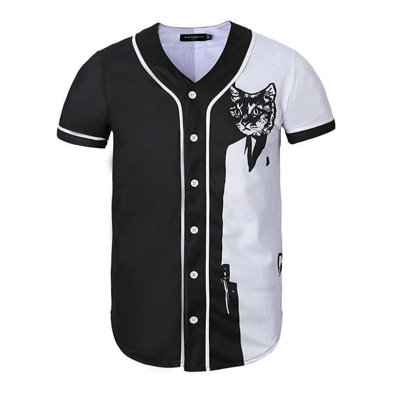 Divertida camiseta de béisbol con estampado de gato en 3D para hombre, novedad de verano 2018, Camiseta ajustada de manga corta de béisbol para hombre, Harajuku, parte de arriba de estilo hip hop, camiseta para hombre