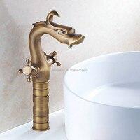 GIZERO Dragon Style Faucet Basin Countertop Mixer Bathroom Basin Mixer Dual Handle Taps GI59