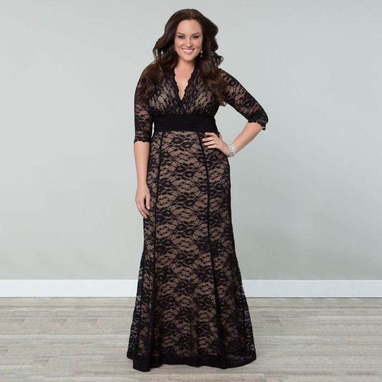 BKLD Women Big Large Plus Size Vintage Dress Sexy V neck Maxi Black ... c62b102ebe06