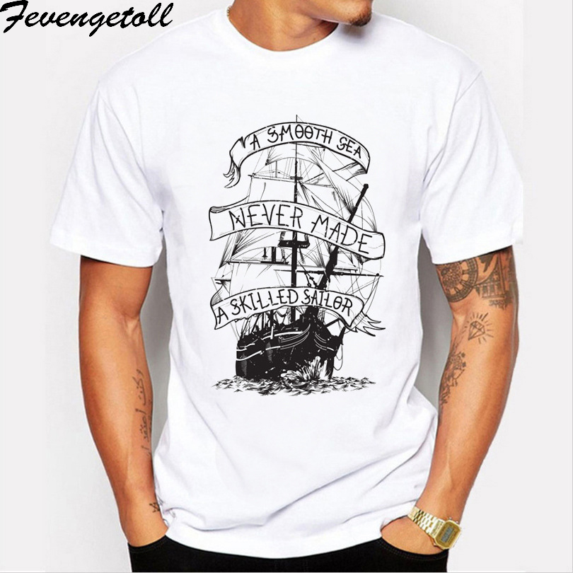 8bafc93c8abbf Summer Cotton funny t shirts short sleeves t shirt men Fashion pirate boat Print  men tops tees casual tshirt men M358-in T-Shirts from Men s Clothing on ...