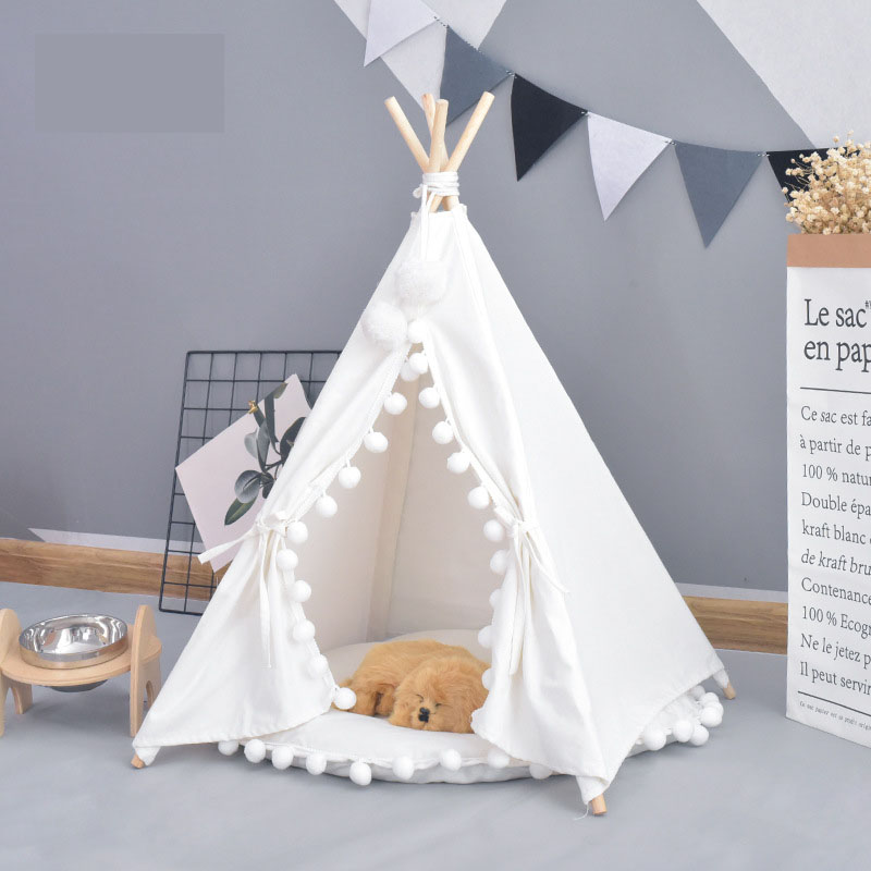 Pet House Cute <font><b>dog</b></font> tent outside tent Pet <font><b>Dog</b></font> House <font><b>Kennels</b></font> Washable Tent Puppy Cat Indoor Outdoor Portable Teepee Mat 2 Styles image