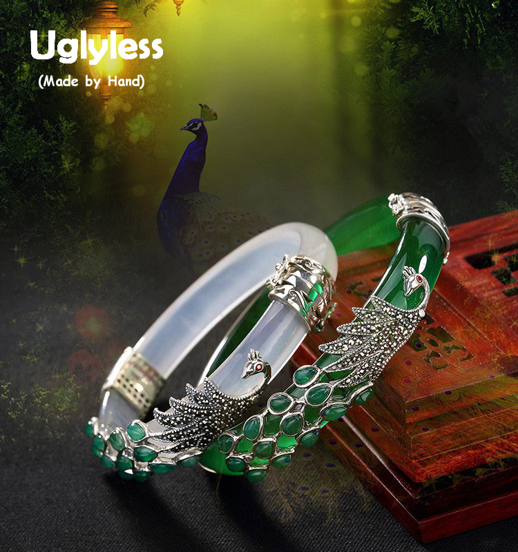 Uglyless S 925 Sterling Silver Bangle Women Evening Dress Natural Green Chalcedony Bangles Marcasite Peacock Bijoux Fine Jewelry