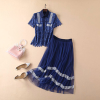 HIGH QUALITY New Fashion 2019 Summer Designer Runway Women's Elegant Hollow Out Blue White Water Soluble Lace Blouse Skirt Sets