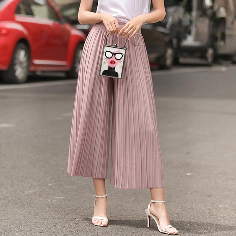 casual   pants   women plus size high waist   pants   trousers summer   wide     leg     pants   oversized loose capri   pants   skirt pleated 16802