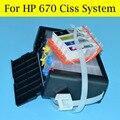 1 Conjunto 670 Sistema Ciss Com O Chip Permanente Para HP Deskjet 3525,5525, 4615,4625, 6525 Impressora