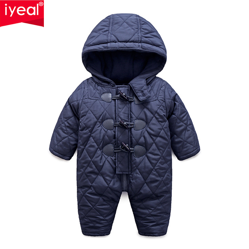 IYEAL Winter Infant Jumpsuit Long Sleeves Hooded Romper Baby Boy Girl Clothes Horn Button New Born Toddler Overalls Warm Outwear 2018 new baby girl boy toddler winter rompers clothes infant hooded duck down sets jackets coats overalls 2 5y baby outwear