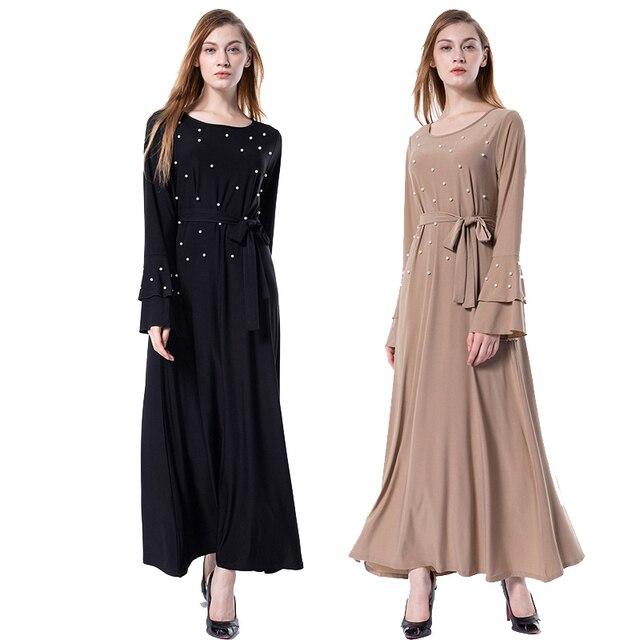 Arabic Vestidos 2018 Flare Sleeve Uae Abaya Dubai Kaftan Turkey Pearls Maxi Muslim Hijab Dress Women